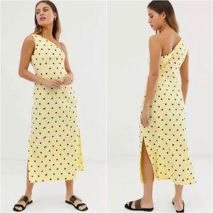 Asos One Shoulder Yellow Polka Dot Midi Dress